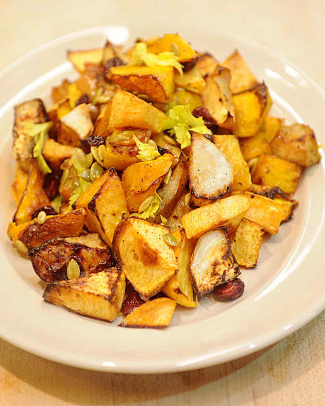 Oven-Roasted Vegetables with Apples, Dried Cranberries, and Pumpkin Seeds