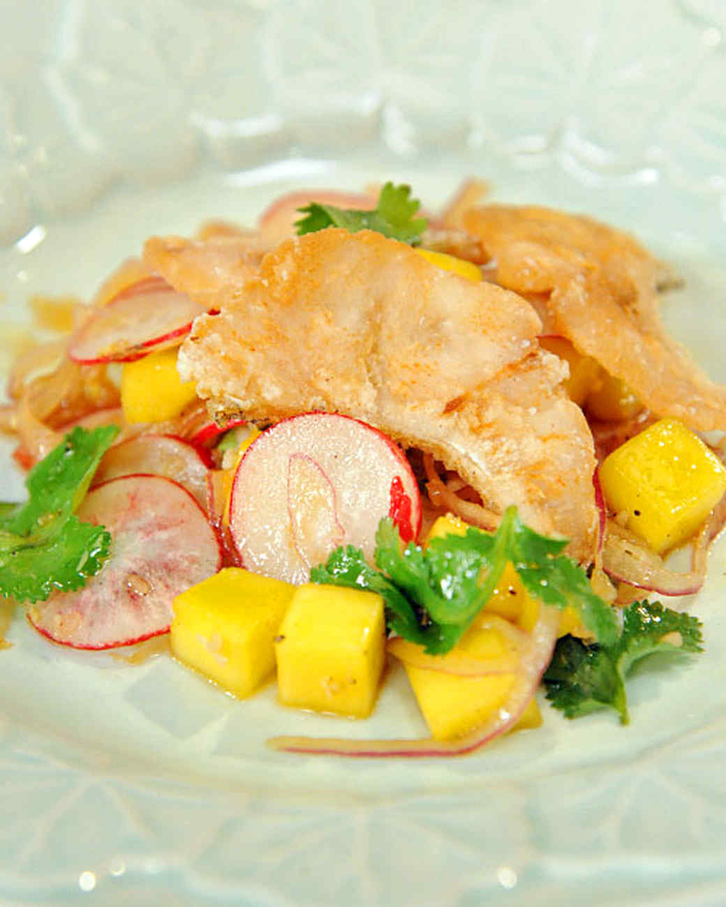 Crispy Fish Salad with Red Onion, Mango, and Soy-Lime Vinaigrette