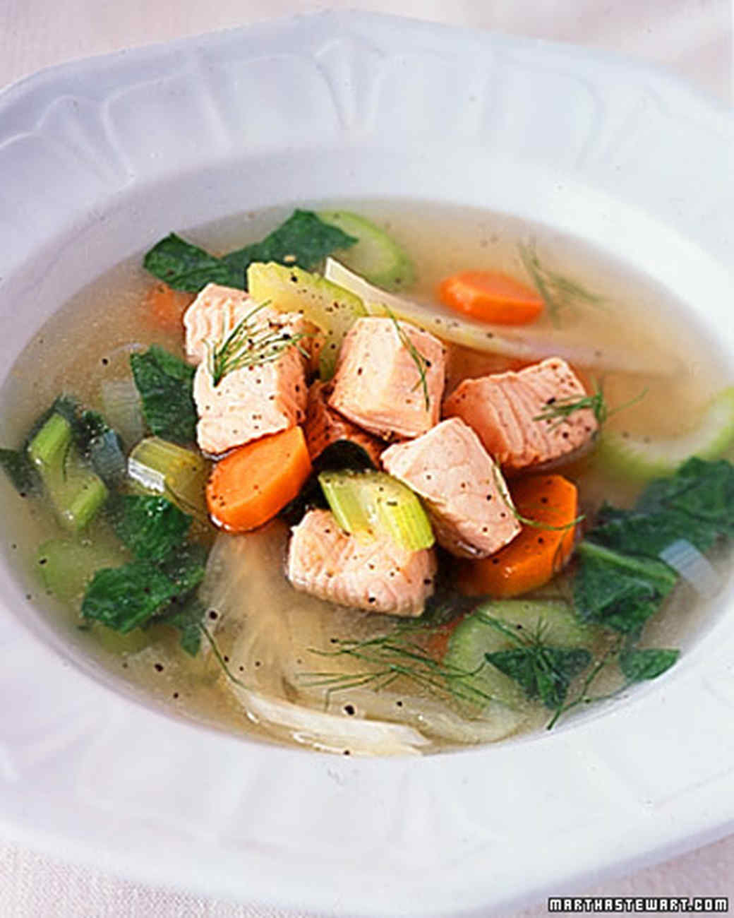 Poached Salmon, Leek, and Fennel Soup