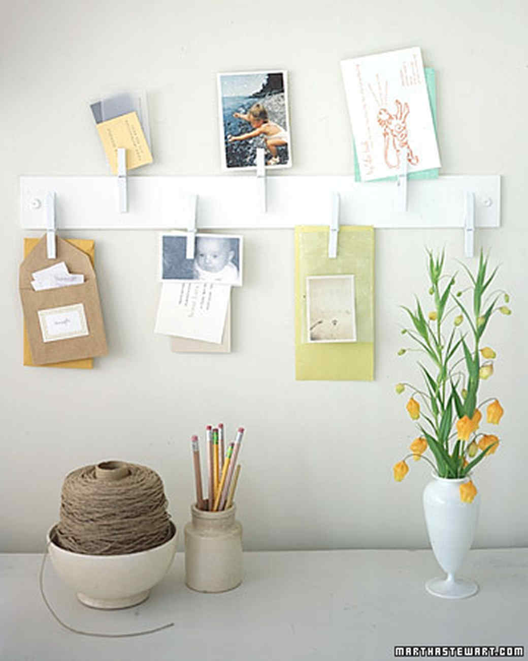 Clothespin memo rack martha stewart for Decoration pieces from waste material