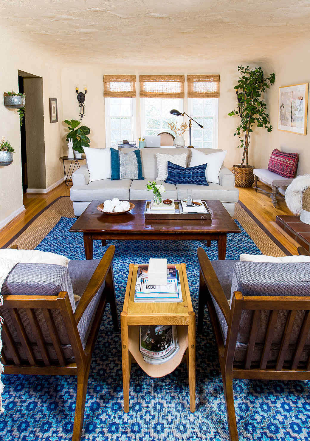 living room wooden coffee table blue rug
