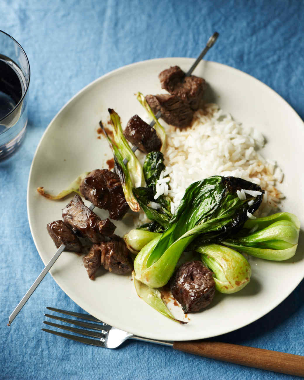 Teriyaki Beef Skewers with Bok Choy