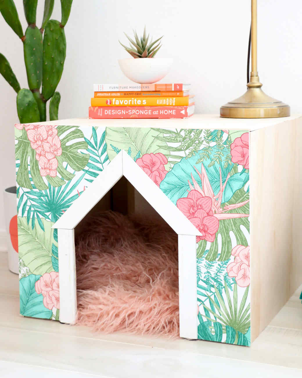 custom dog house with fun print