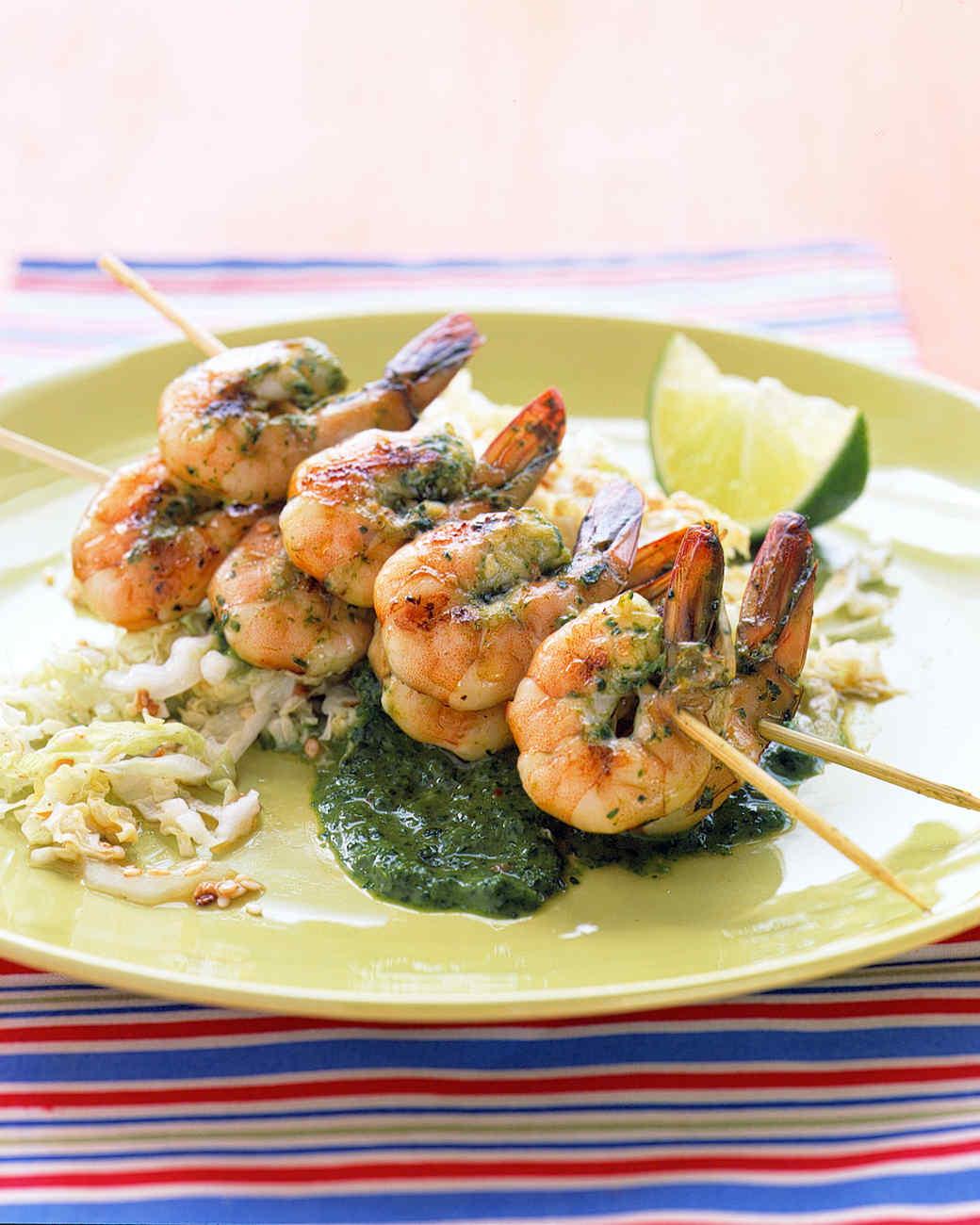 Cilantro-Grilled Shrimp with Sesame Cabbage