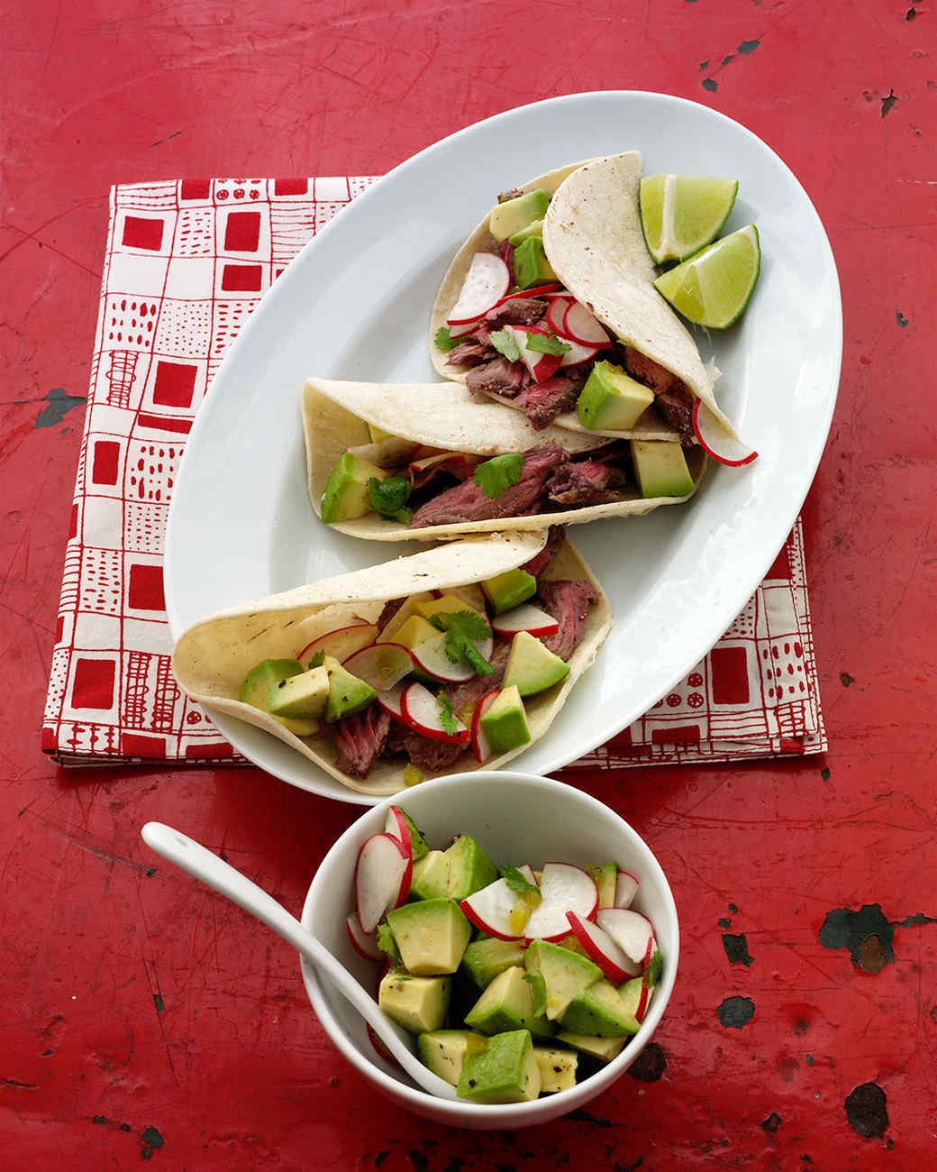 Beef Tacos with Radish and Avocado Salsa