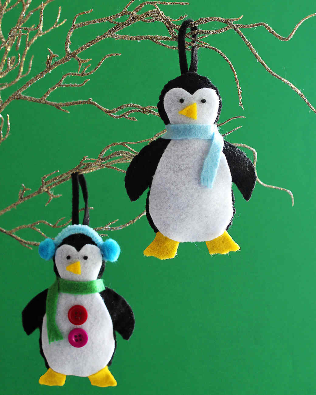 Felt penguin ornaments for Christmas
