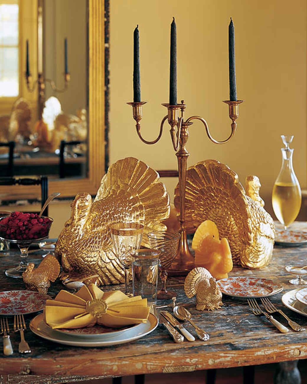 Thanksgiving turkey decor - Gilded Turkey Centerpiece