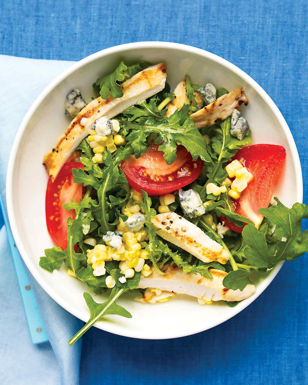 Arugula Salad with Grilled Chicken, Corn, Tomatoes, and Blue Cheese