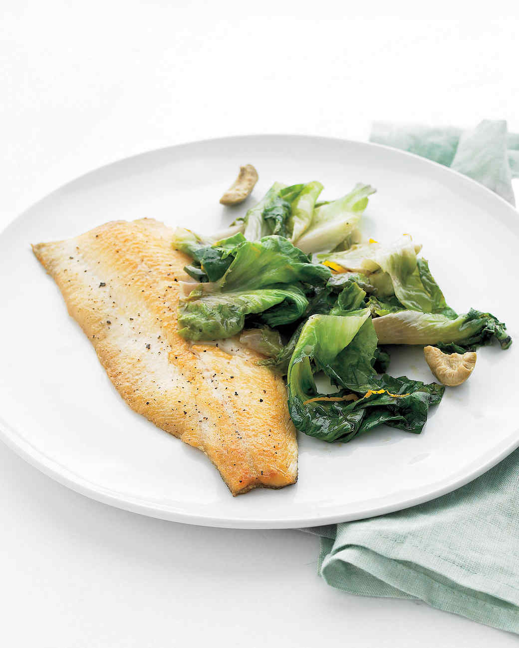 Trout with Escarole, Orange, and Olives