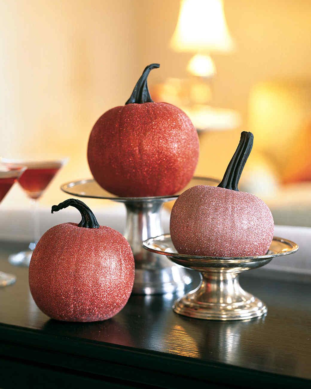 Glittered Pumpkin Table Decorations Glittered Pumpkin Table