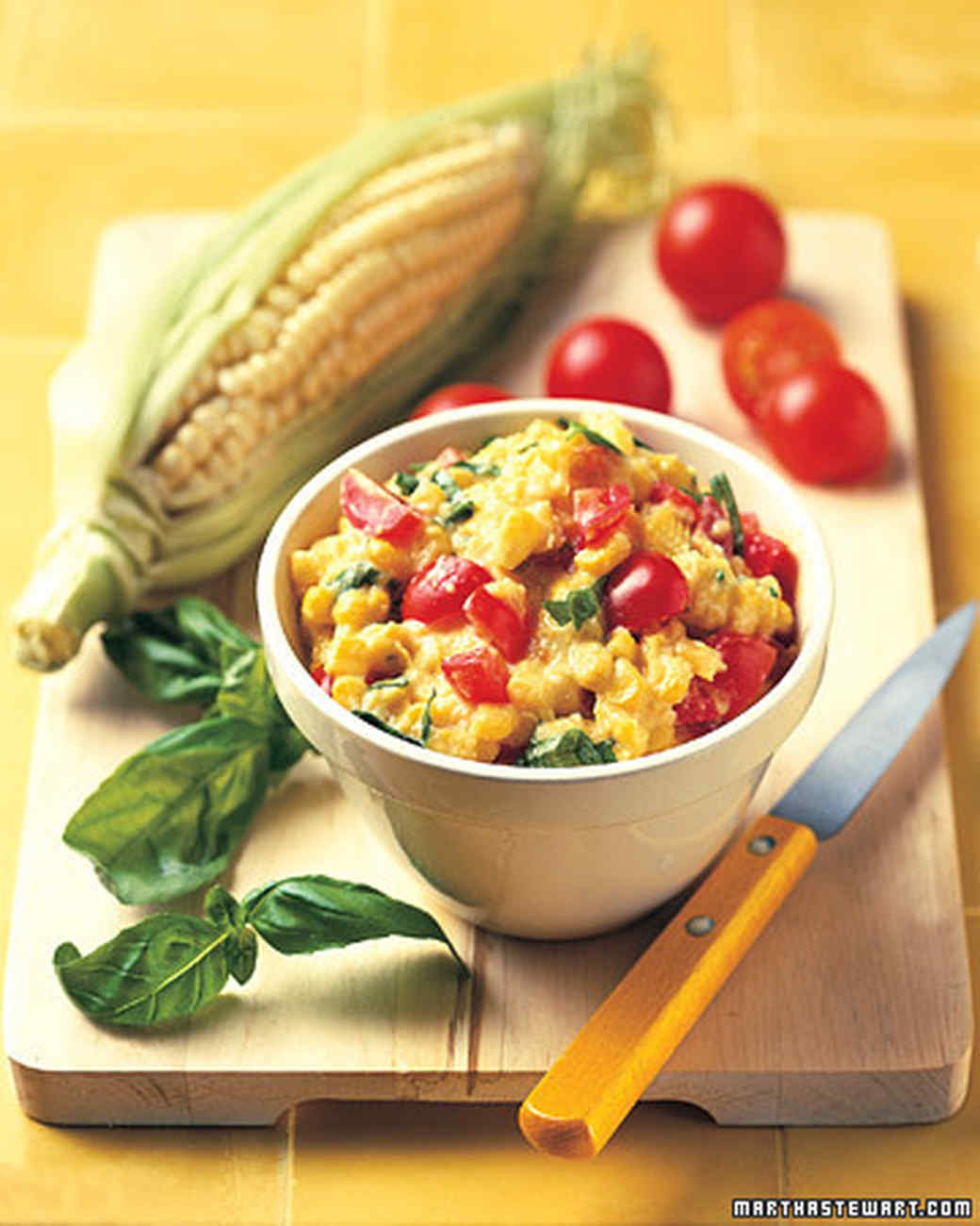Corn Dip with Tomatoes and Basil