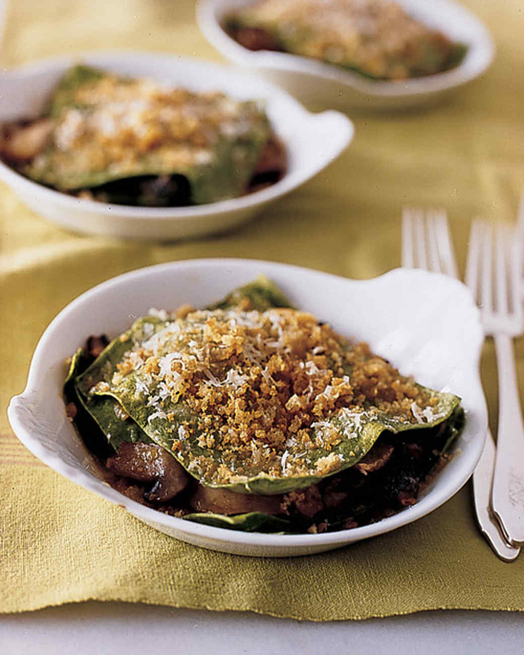 Individual Mushroom Lasagnas with Crispy Breadcrumbs