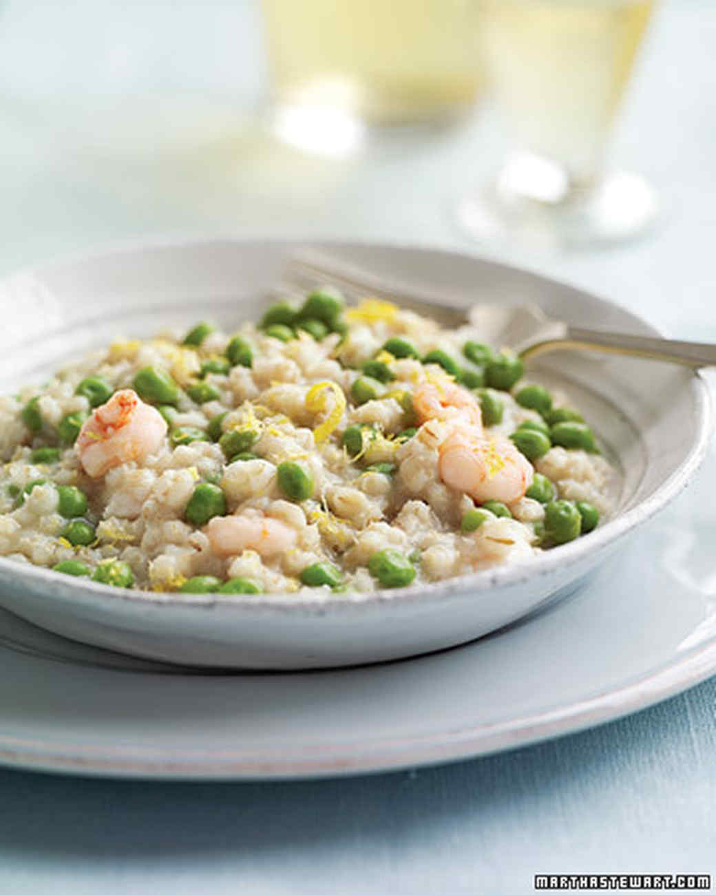 Barley Risotto with Shrimp and Peas
