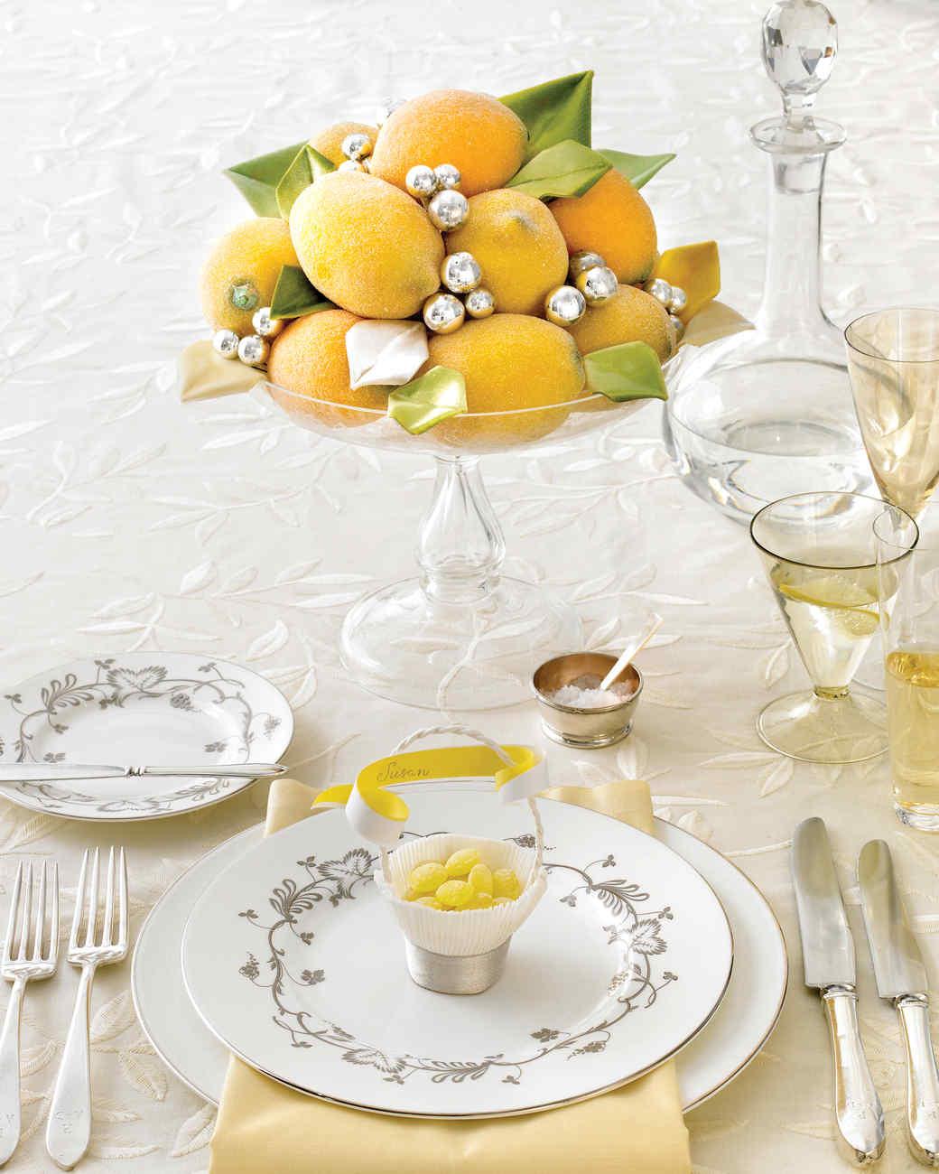 Glittered Faux Lemons and Velvet Leaves