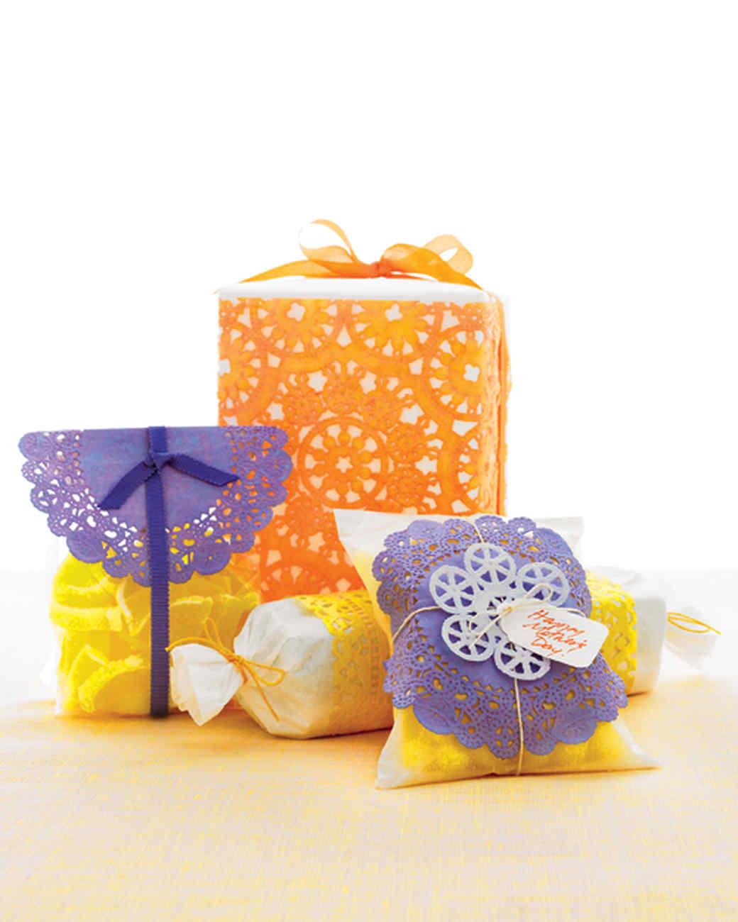 Dyed-Doily Gift Wrap