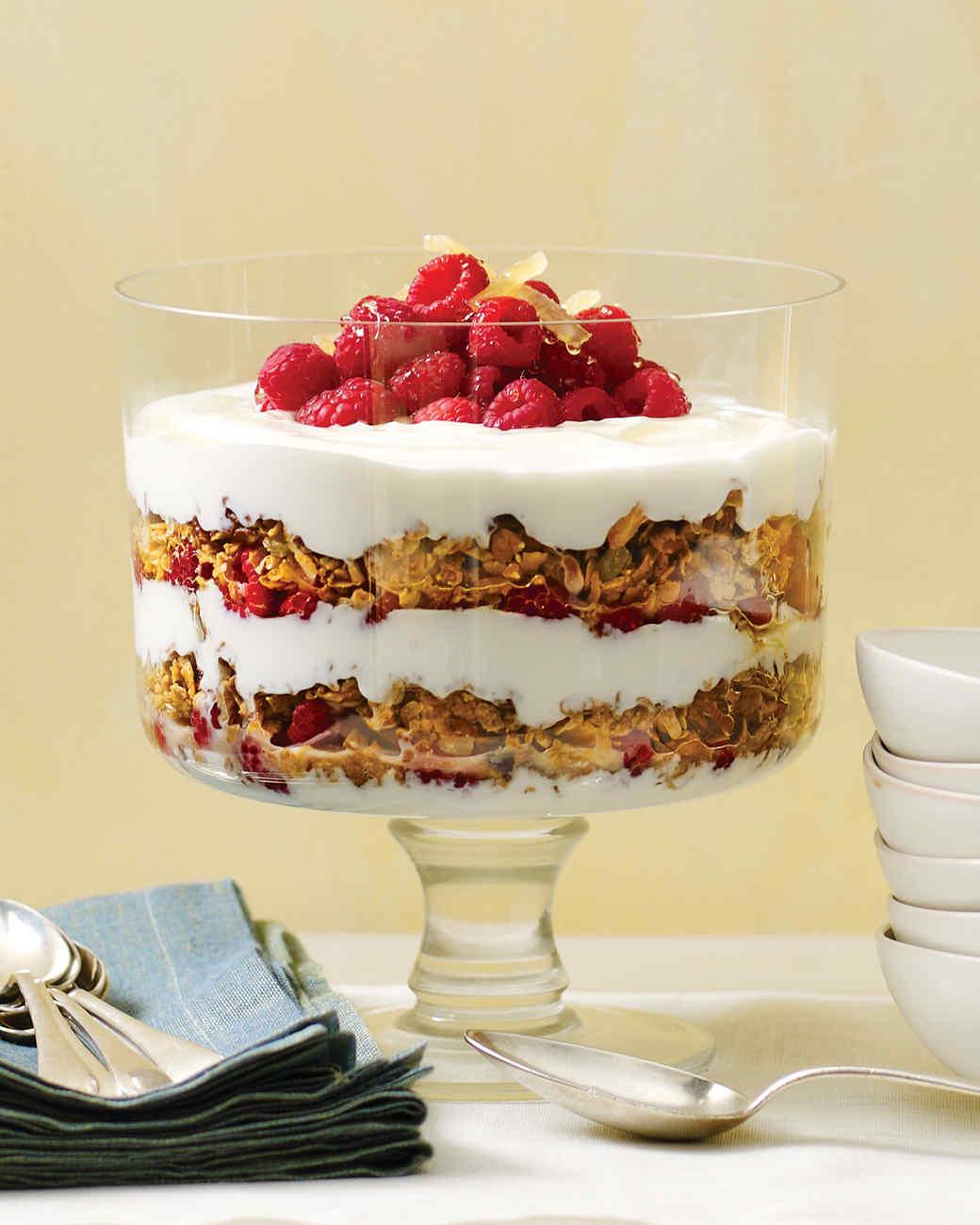 Yogurt Parfait with Granola, Raspberries, and Candied Ginger