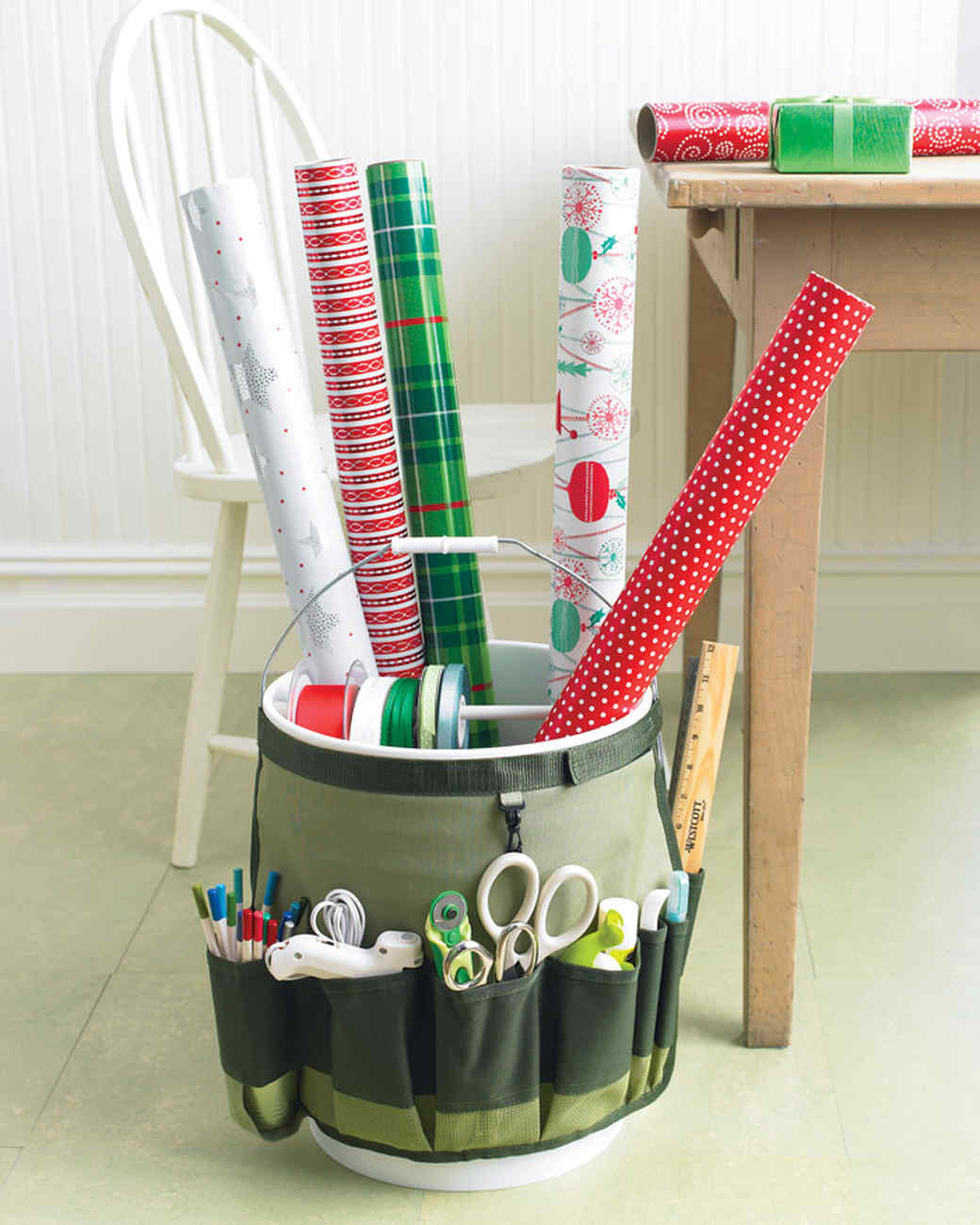 Go-Anywhere Bucket for Wrapping Paper