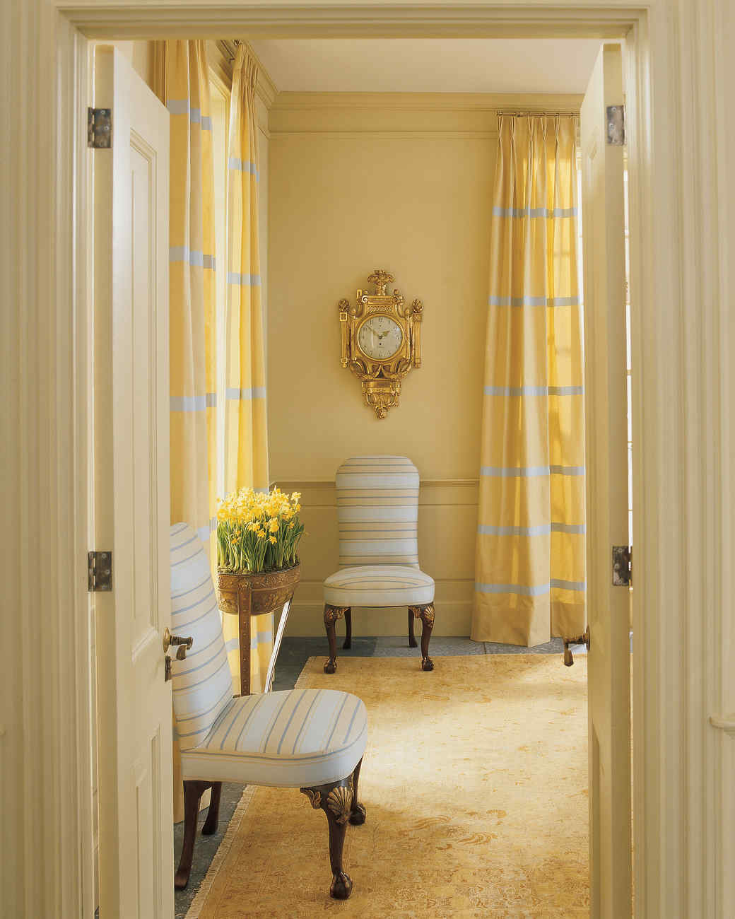 design curtains for living room.  Yellow Rooms Martha Stewart
