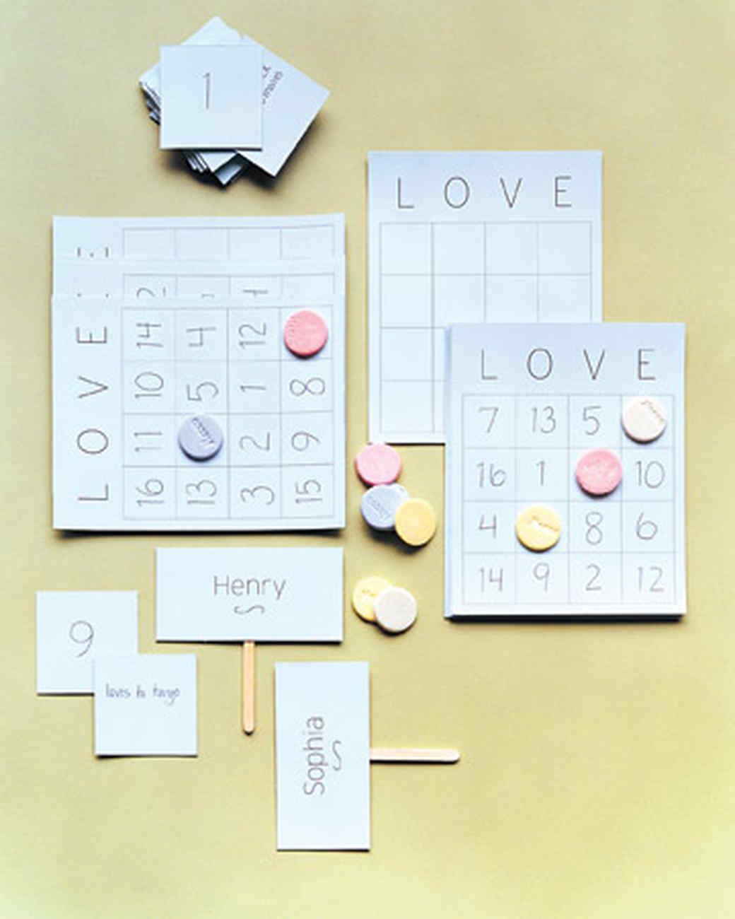bridal shower activity love bingo