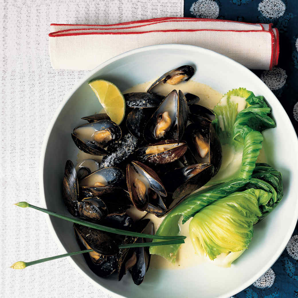 Mussels and Wrapped Heart Mustard with Coconut Green-Curry Broth