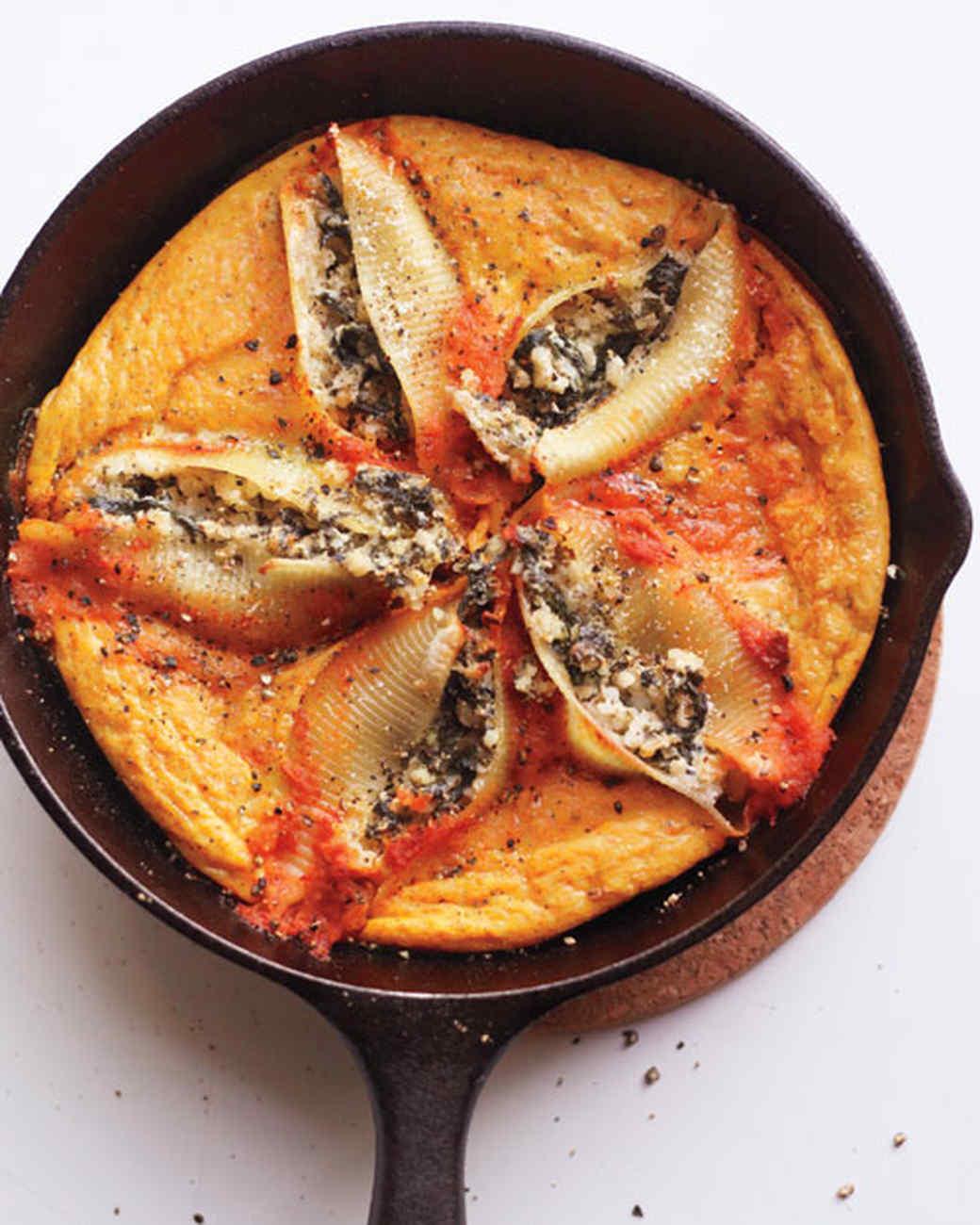 Ricotta and Spinach Stuffed Shells Frittata