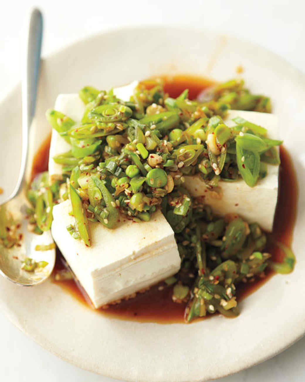 Tofu with Snap Peas and Scallions