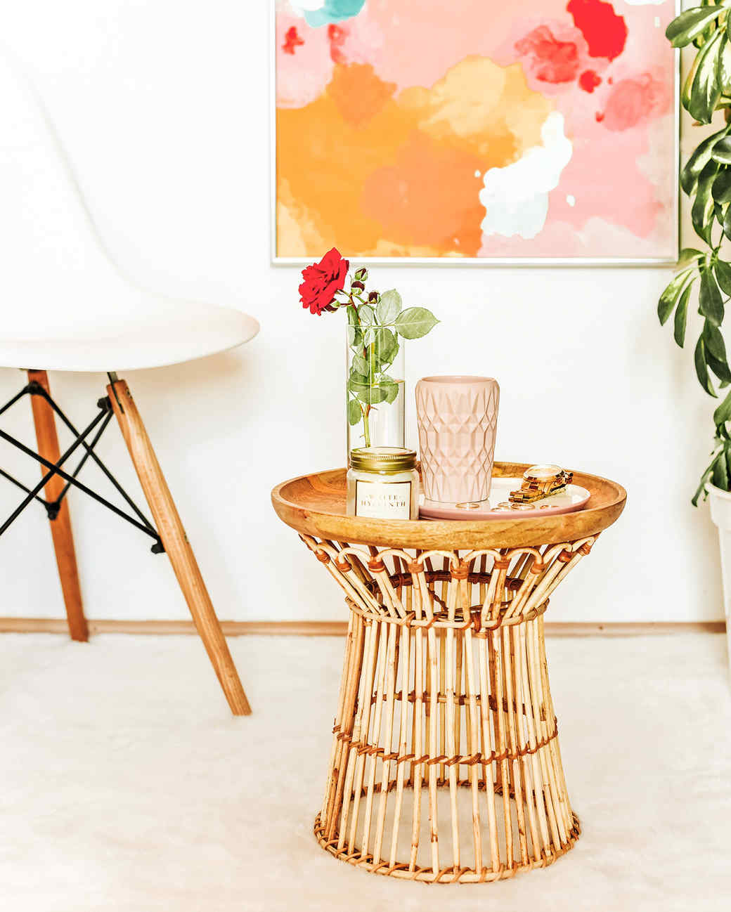 Diy Rattan Side Table Martha Stewart