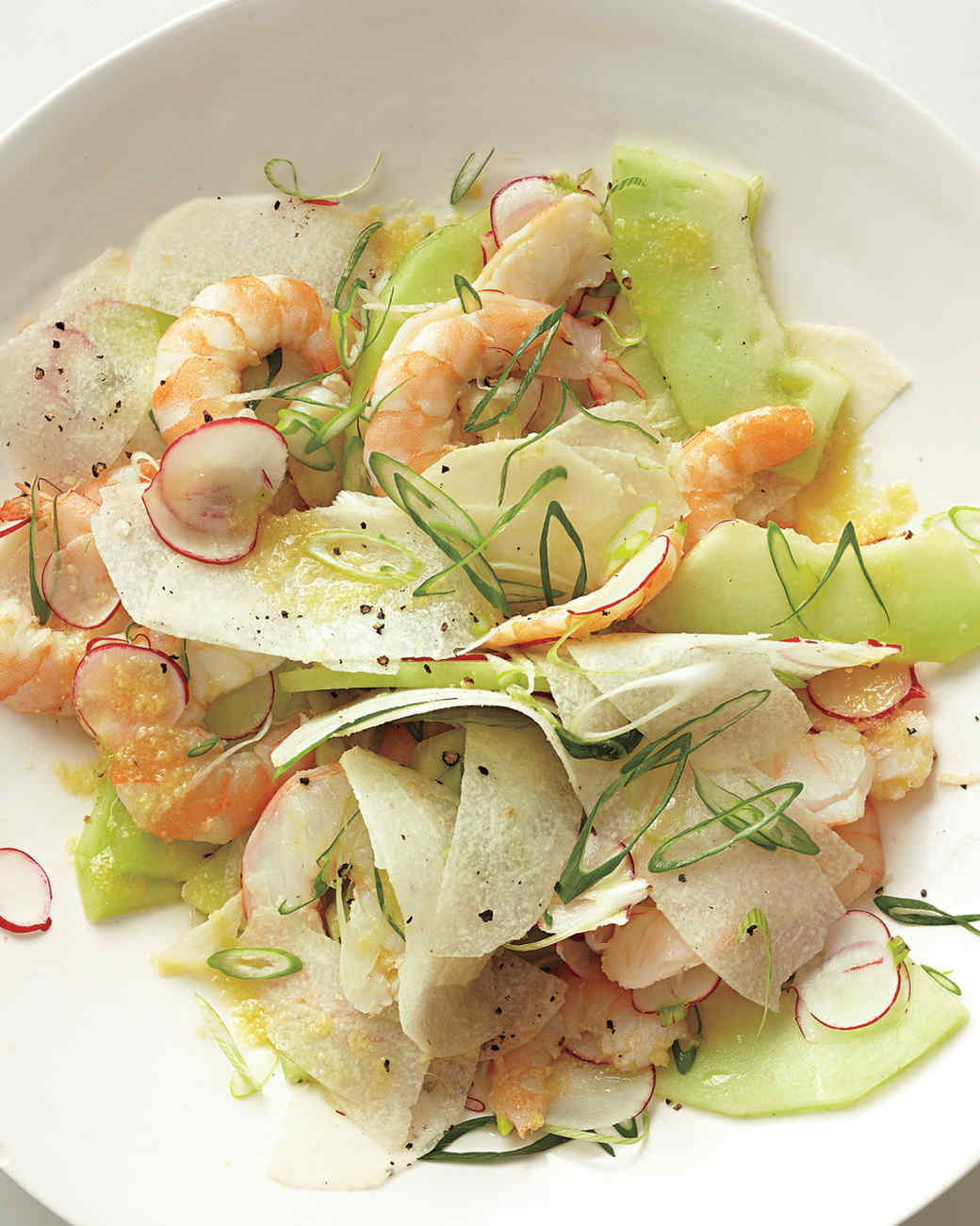 Poached Shrimp with Honeydew, Radishes, Jicama, and Scallions
