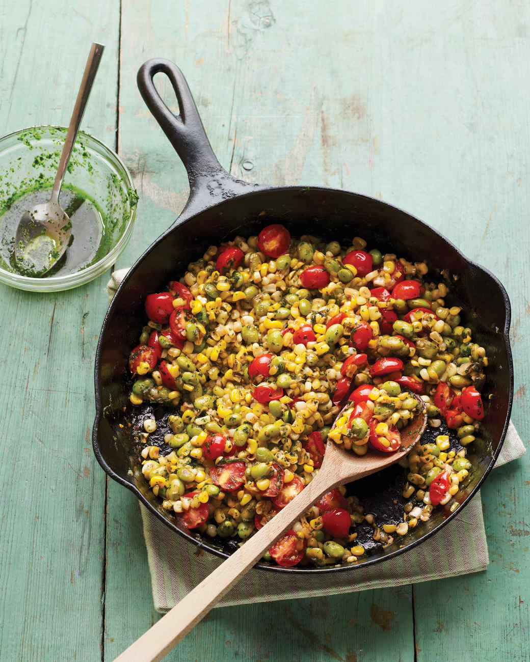 Skillet Corn, Edamame, and Tomatoes with Basil Oil