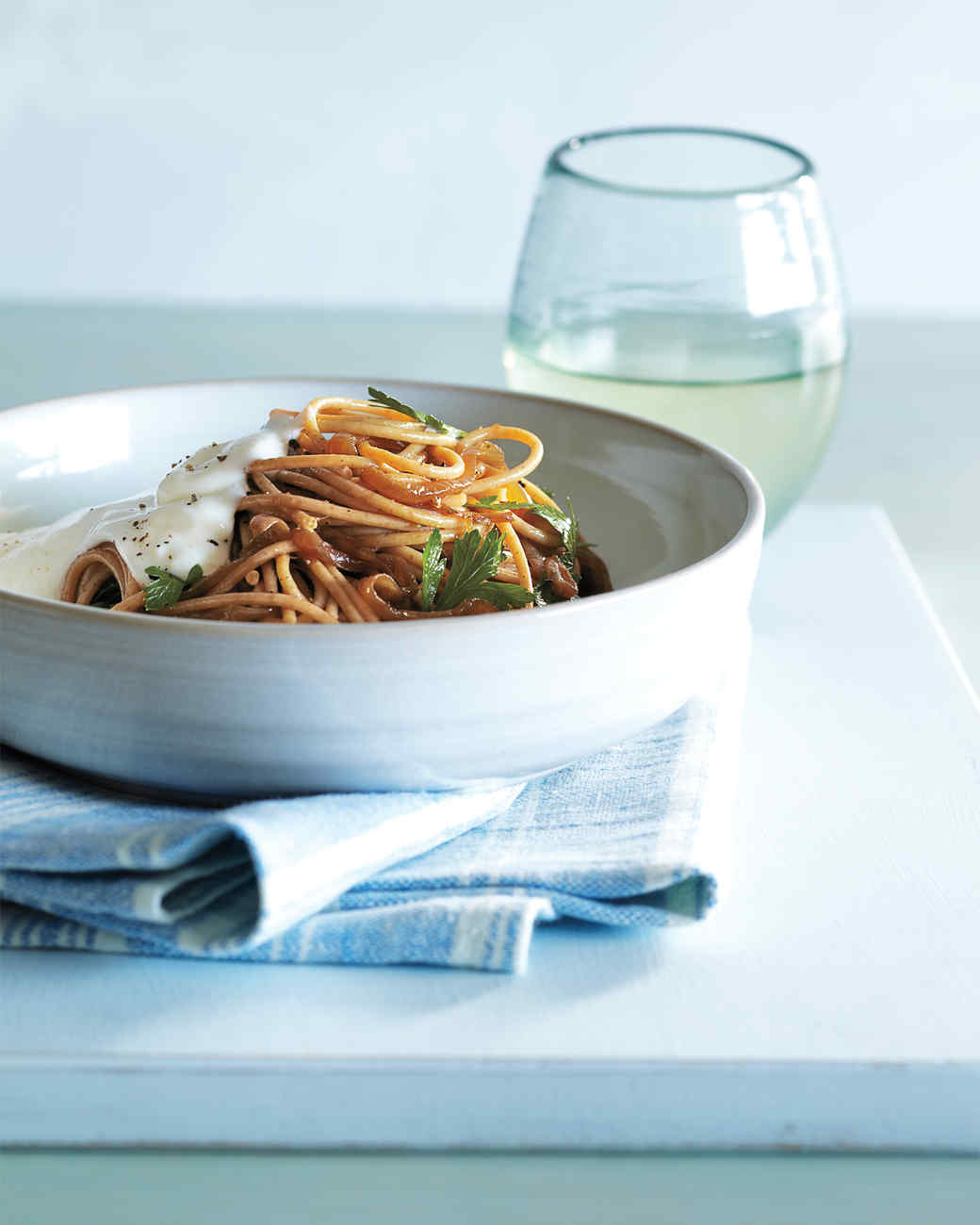 Spaghetti with Caramelized Onions and Yogurt