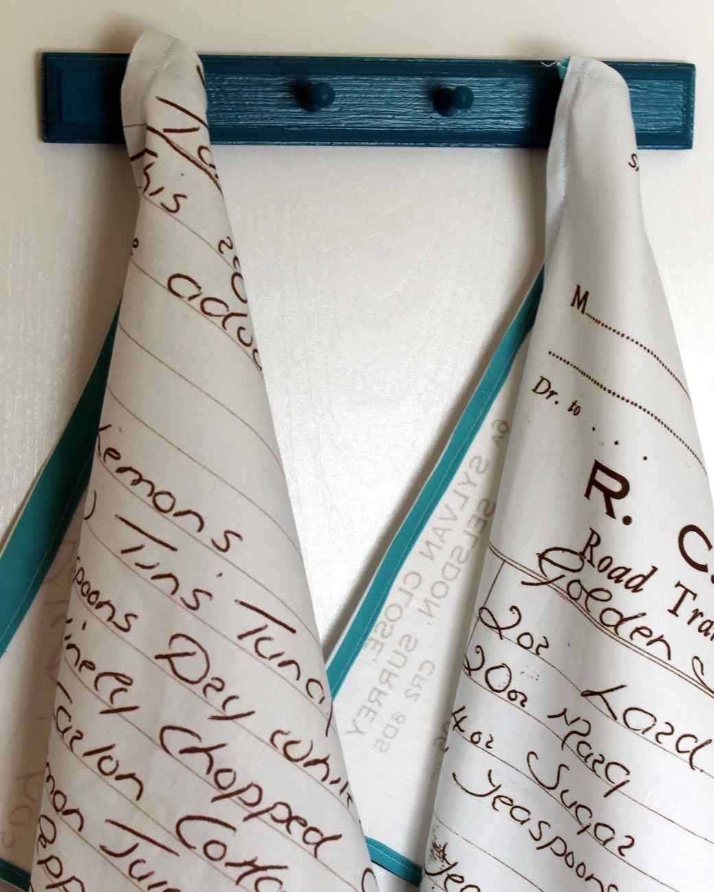 Tea Towels Made From Handwritten Recipes