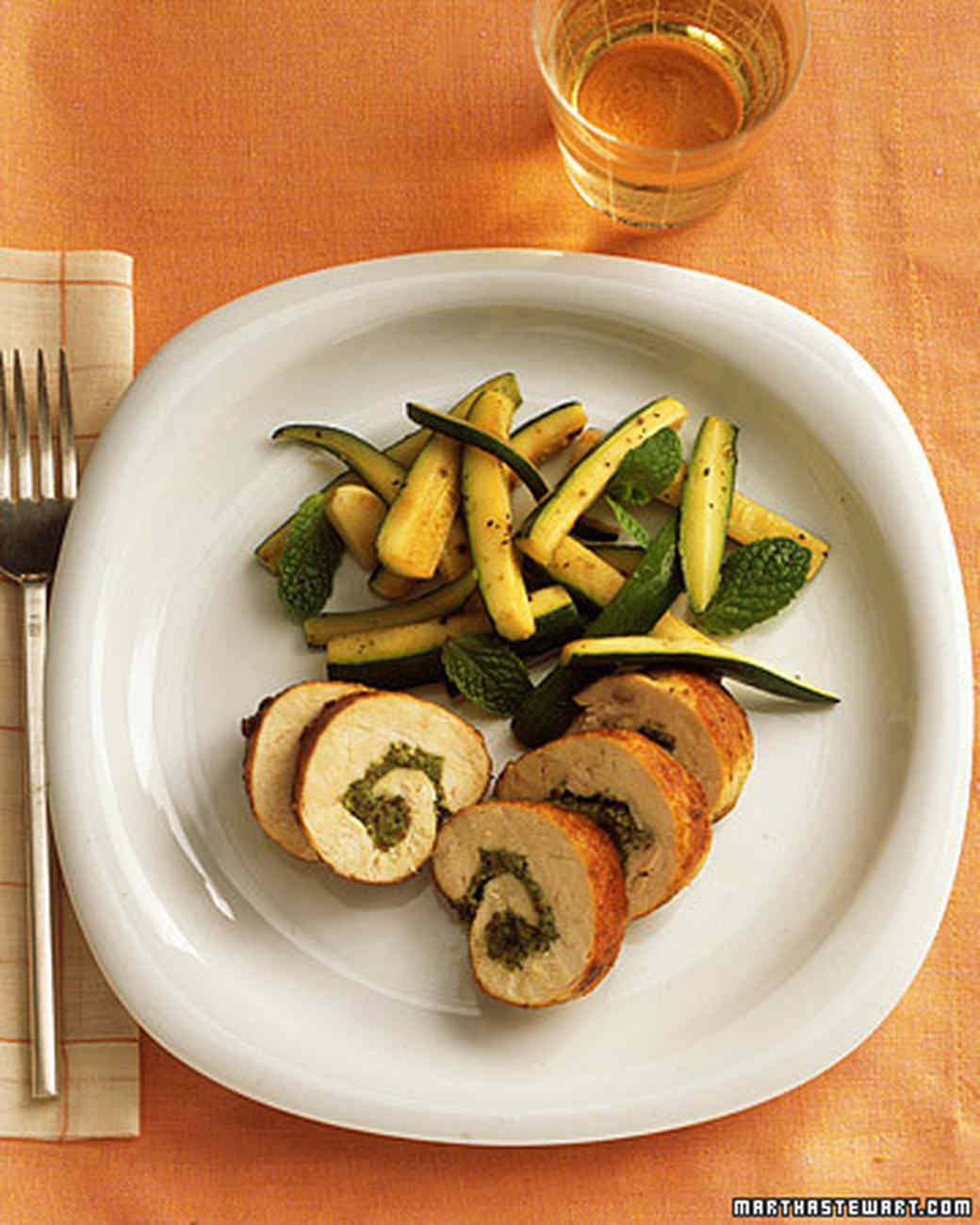 Rolled Chicken Breasts with Almond-Mint Pesto and Zucchini