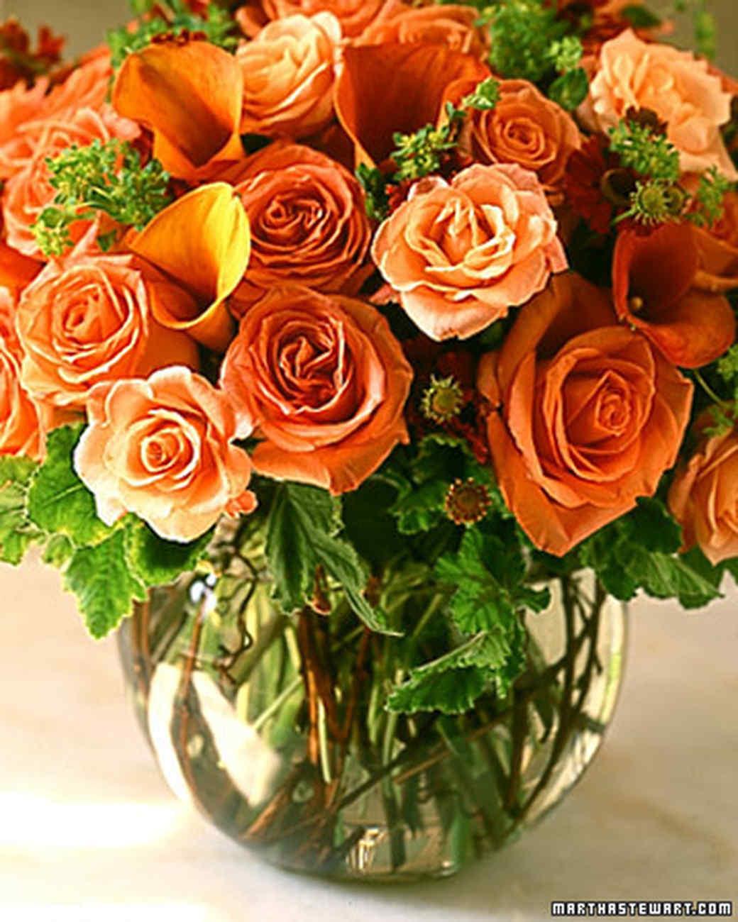 Orange flower arrangements martha stewart for Martha stewart floral arrangements