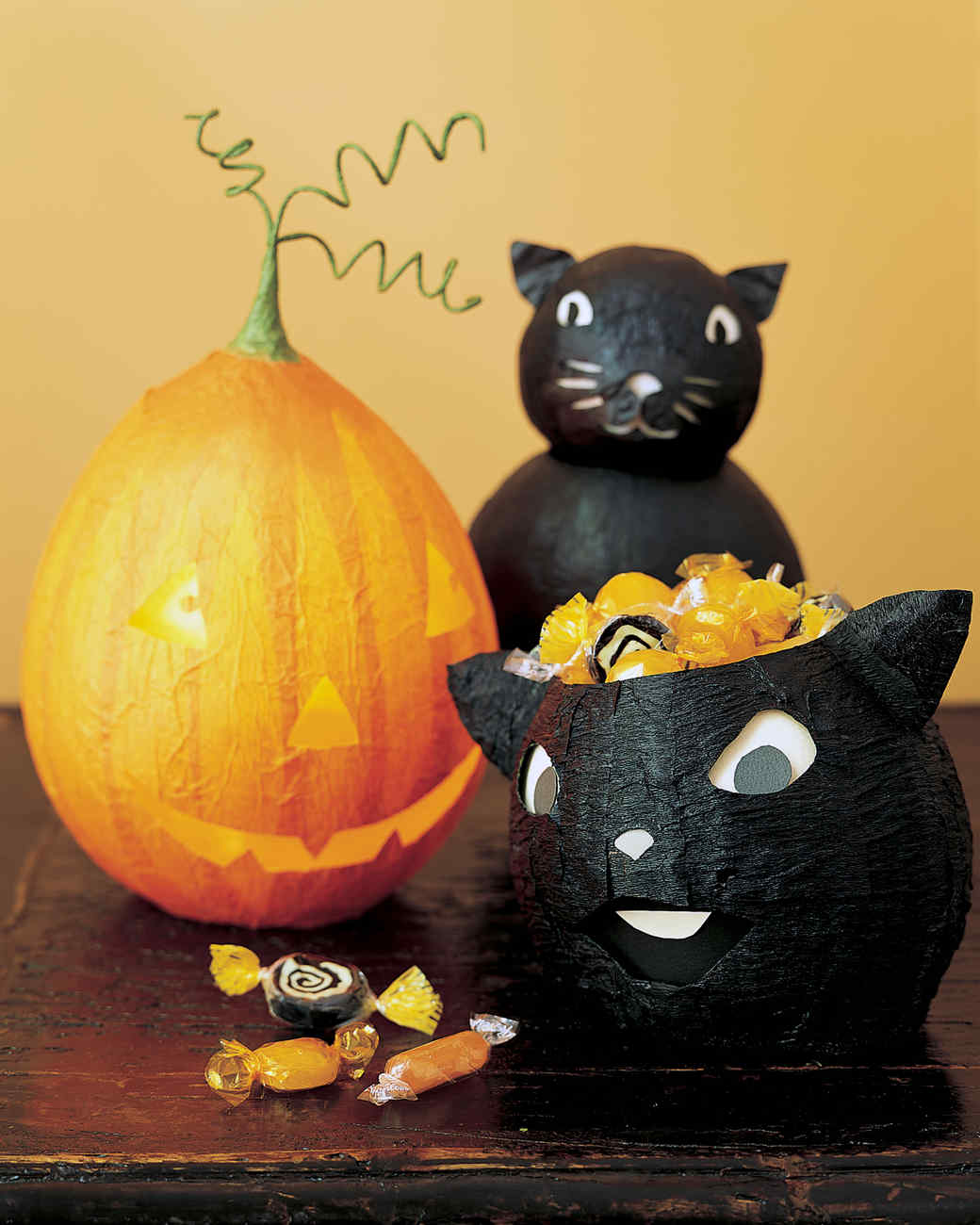 Papier-Mache Decorations: Black Cats