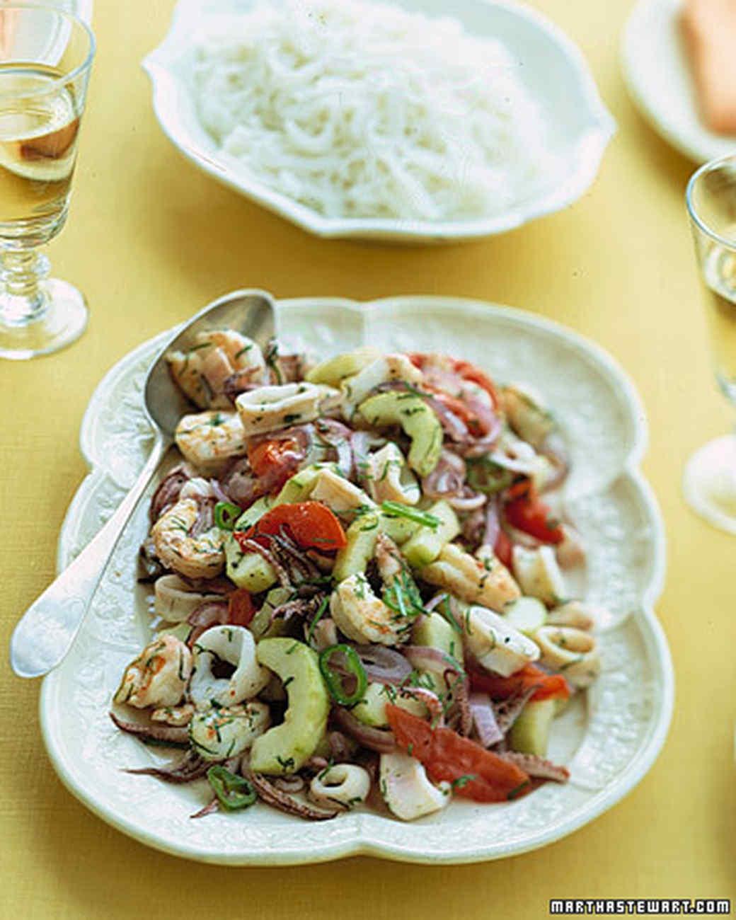 Warm Thai Squid and Shrimp Salad