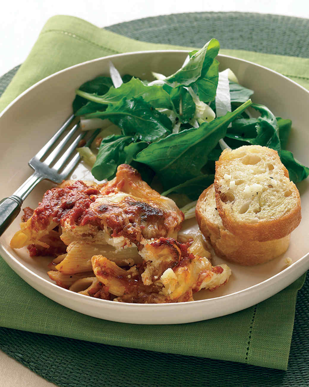 Baked Ziti with Crunchy Italian Salad and Garlic Bread