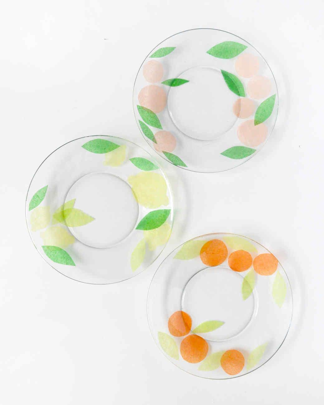 finished decoupaged fruit plates