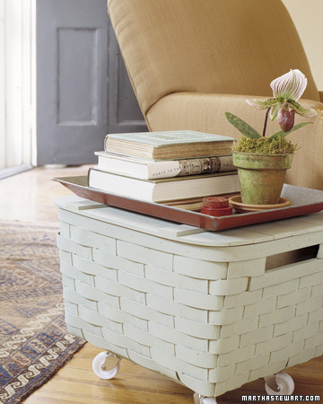 Basket Table: Storage on Wheels