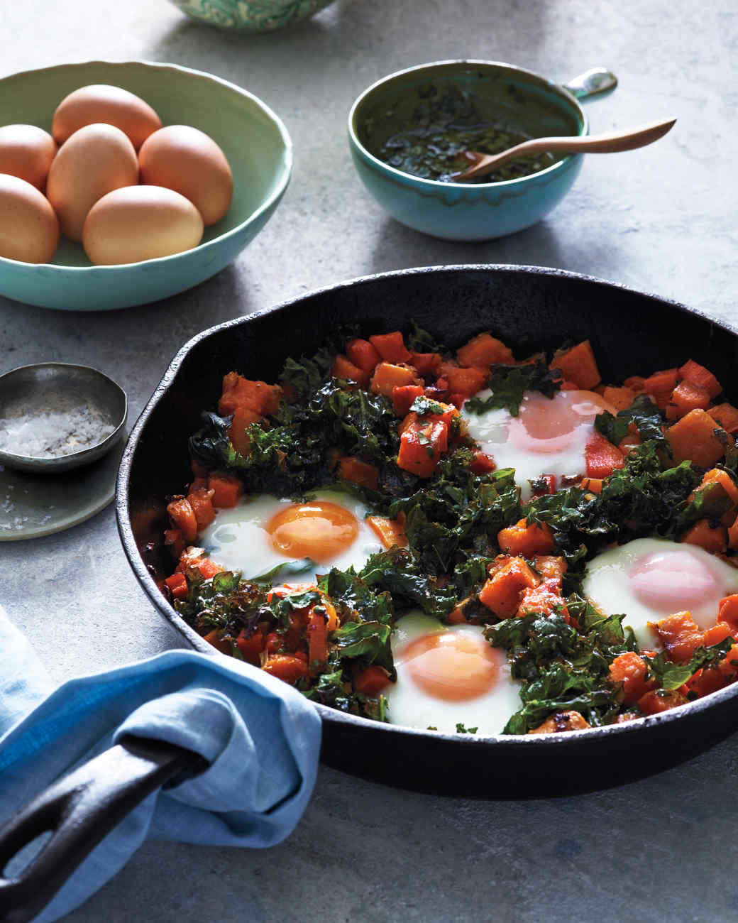 Luscious low carb vegetarian recipes martha stewart squash hash with kale and baked eggs forumfinder