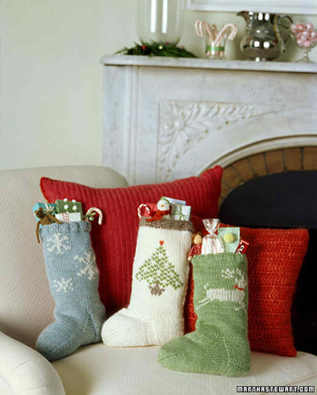 Knitted Christmas Stockings.Sock Pattern For Knit Christmas Stockings Martha Stewart