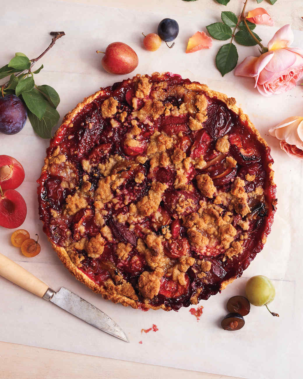Rose-Scented Plum Crumble Tart