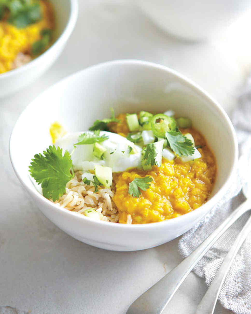 Stewed Lentils with Yogurt, Cucumbers, and Green Chiles