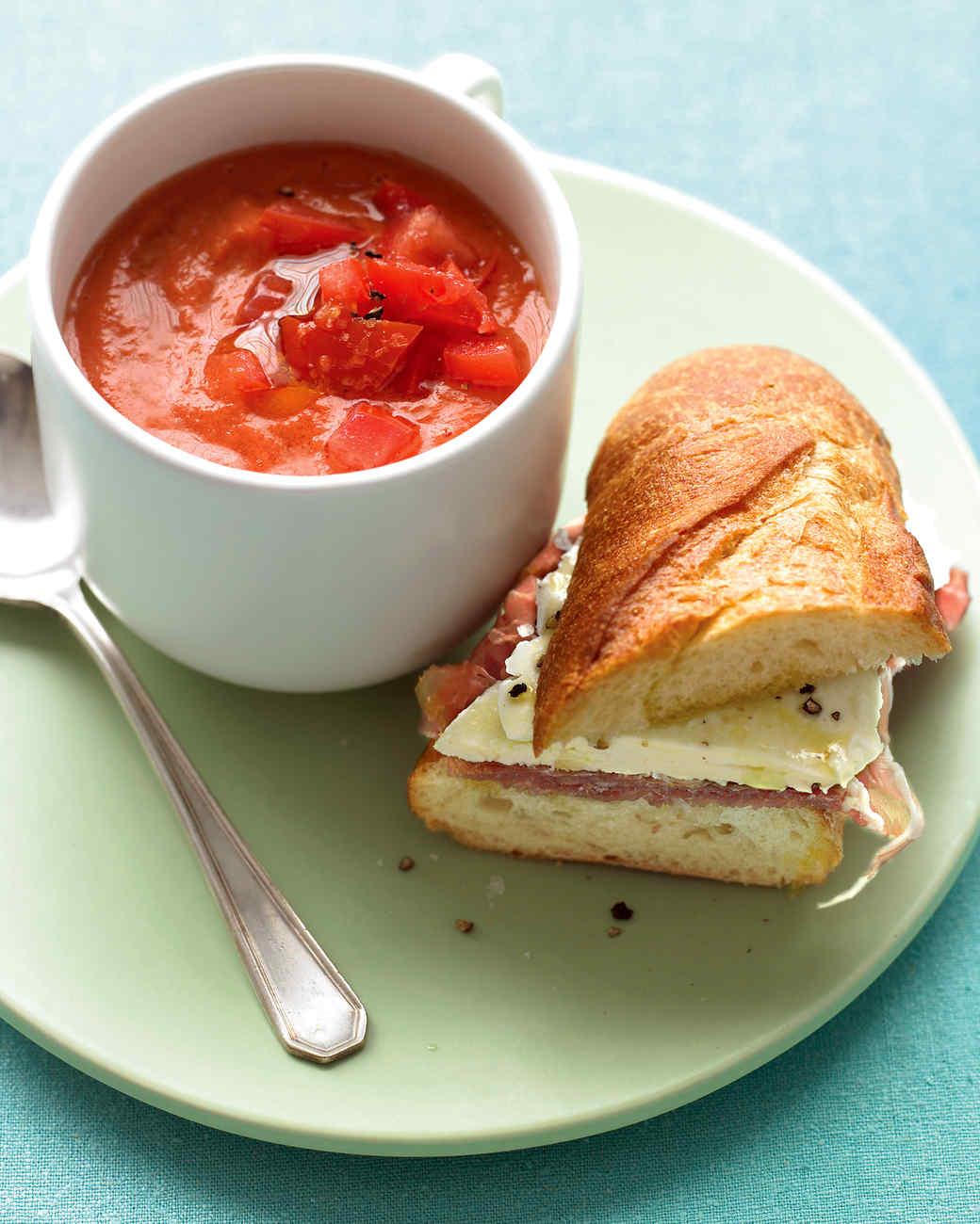 Tomato Gazpacho with Prosciutto-Mozzarella Sandwiches