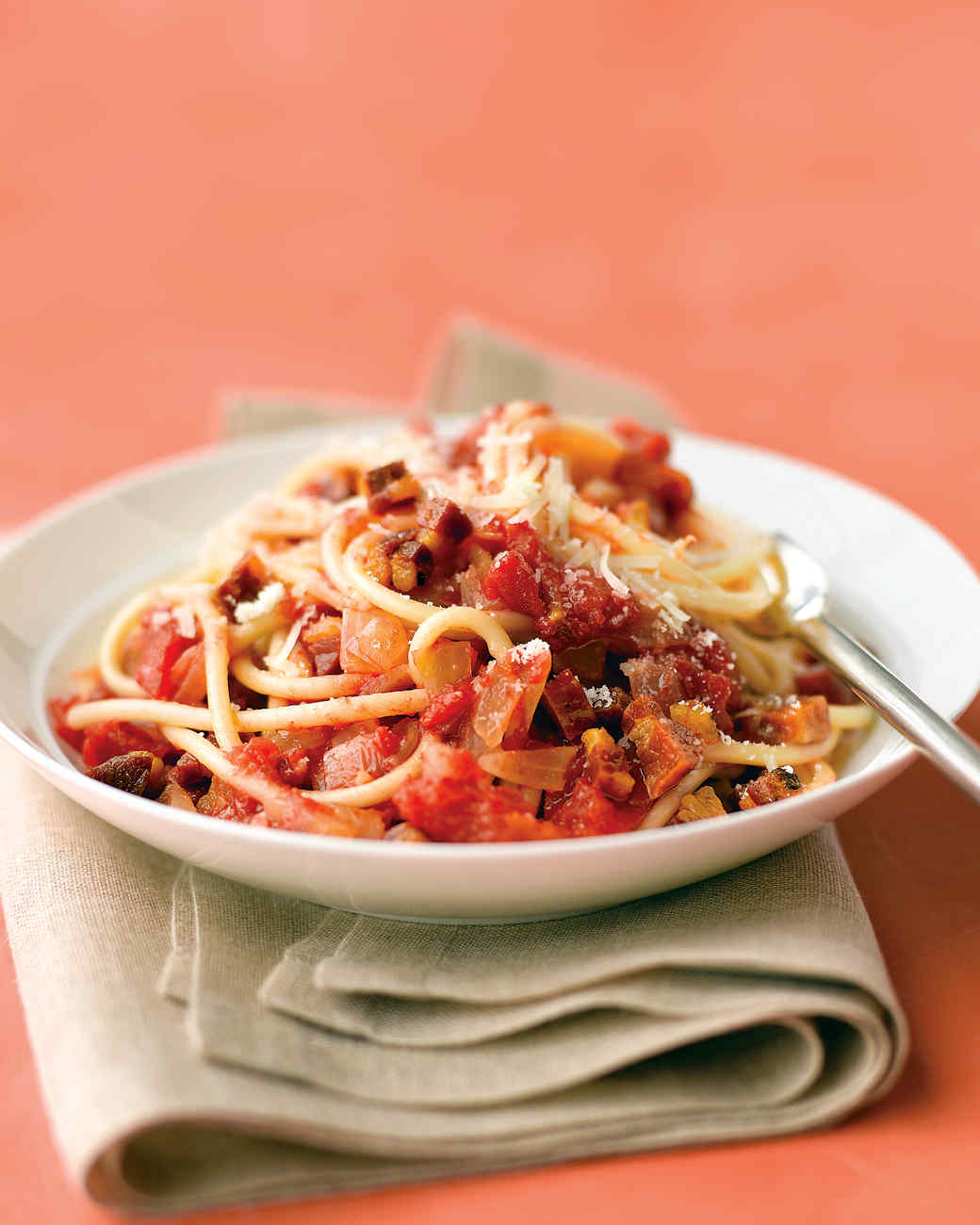 Bucatini with Pancetta, Tomatoes, and Onion