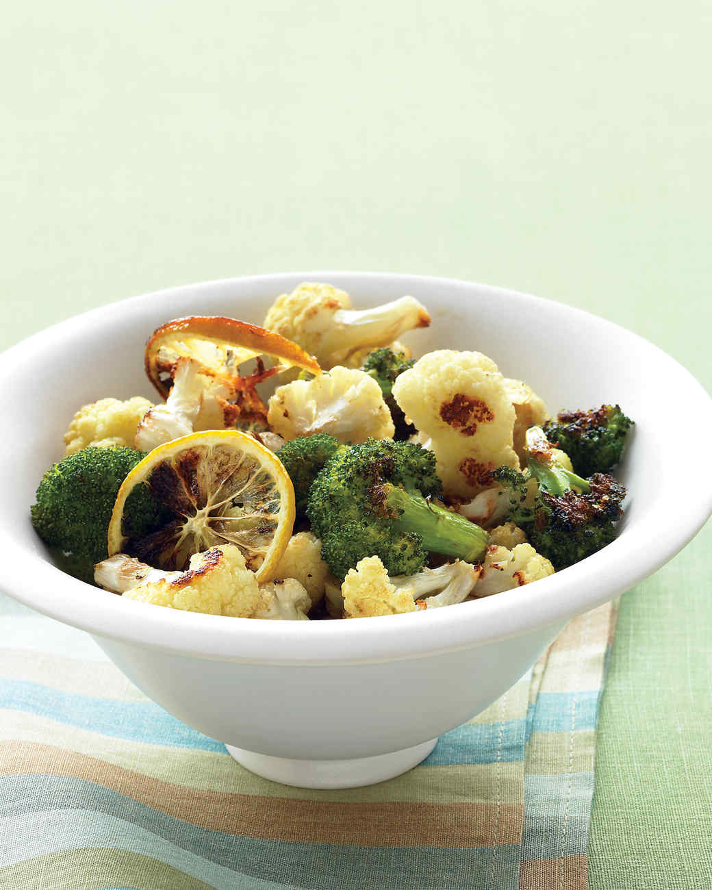 Roasted Broccoli and Cauliflower with Lemon and Garlic