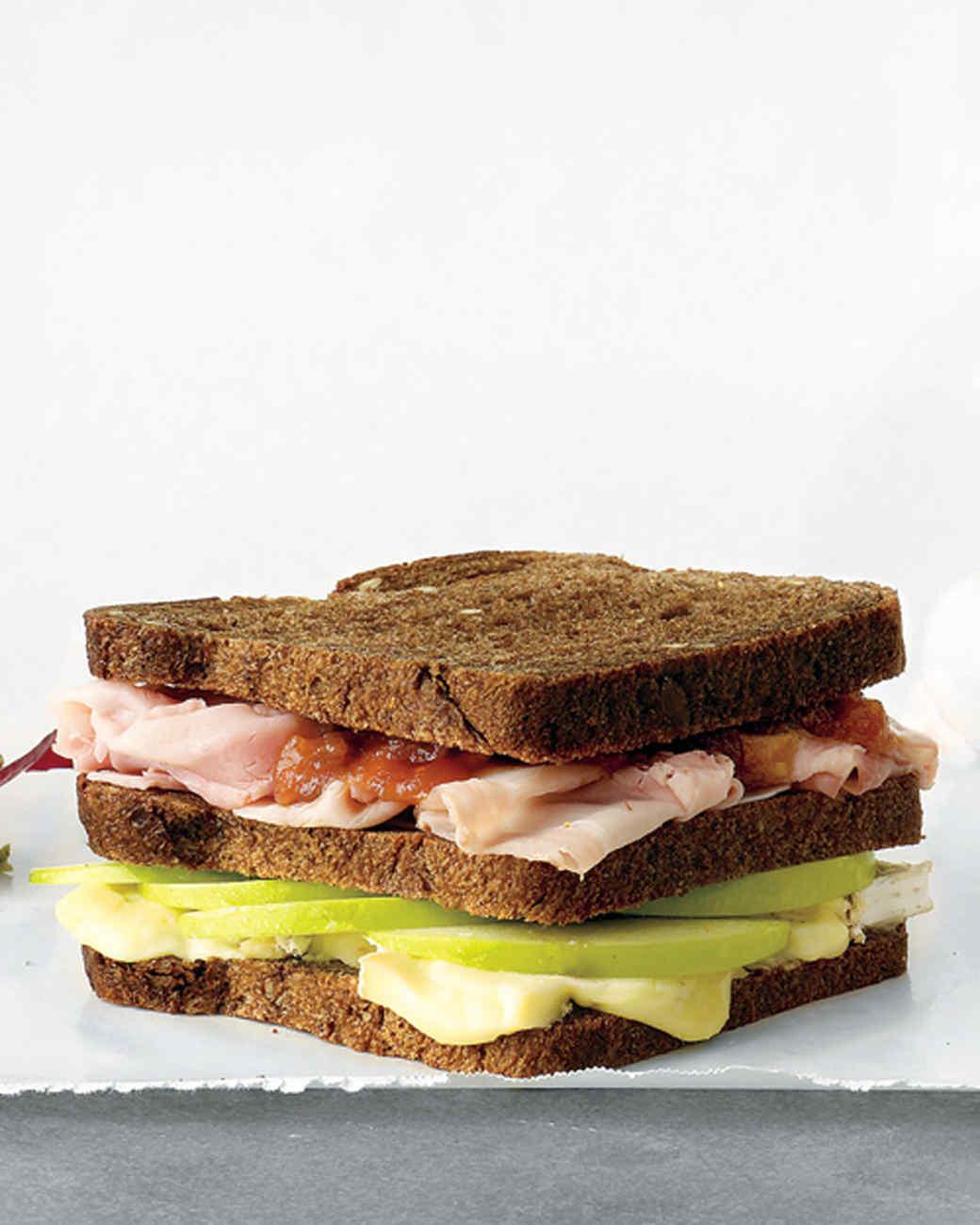 Ham, Brie, and Apple Triple-Decker Sandwich