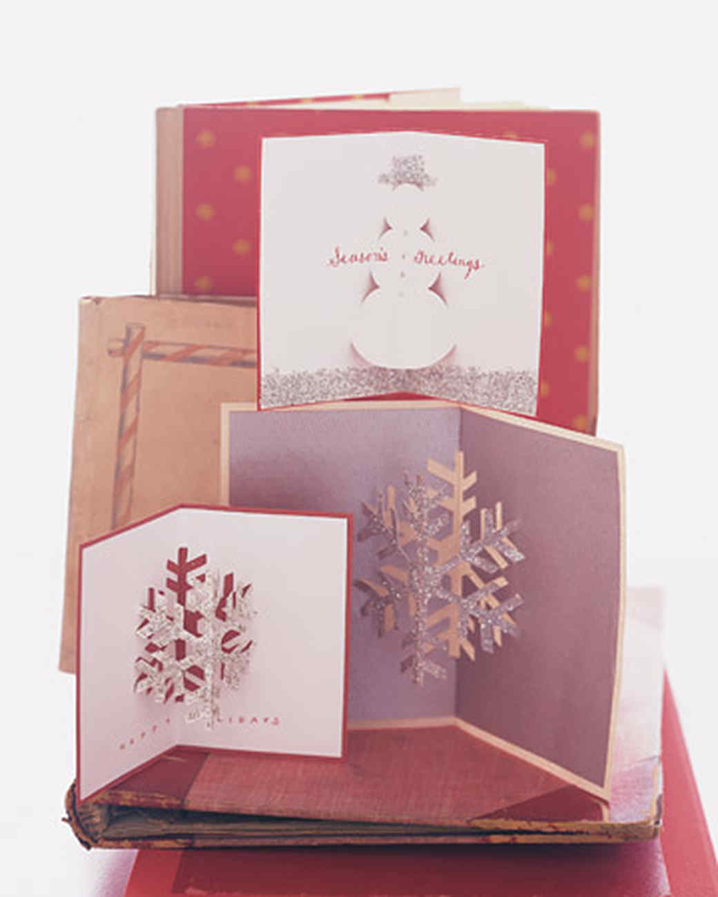 Craft Christmas Card Ideas Part - 37: Glittered Holiday Cards With Fold-In Shapes
