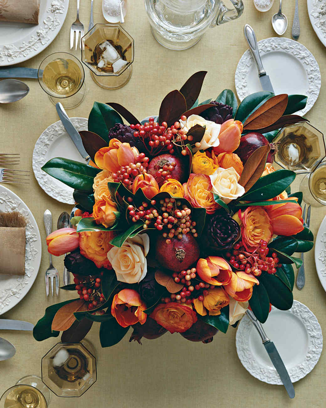 Thanksgiving Centerpiece with Pomegranates, Tulips, and Roses