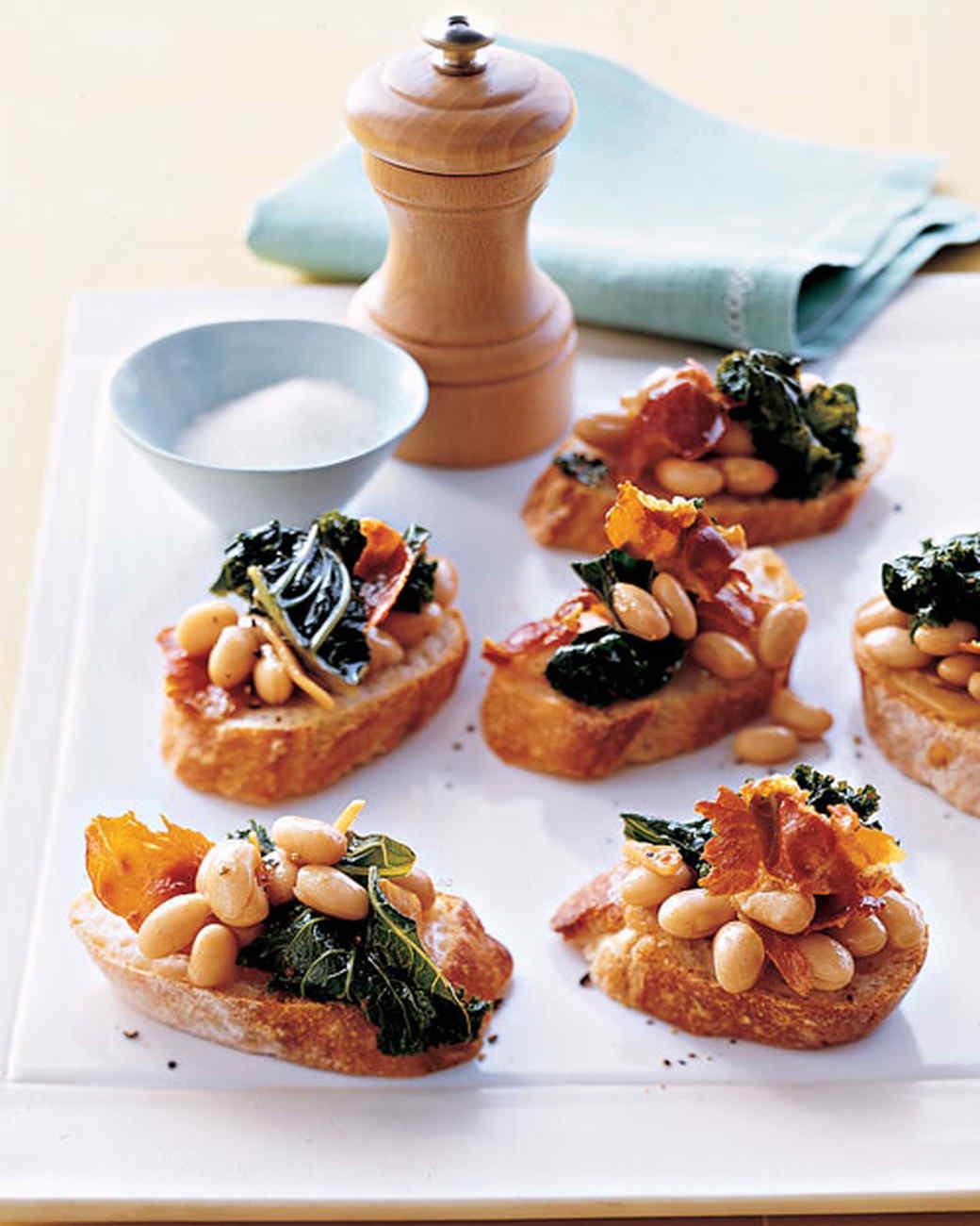 Kale, White Bean, and Prosciutto Crostini