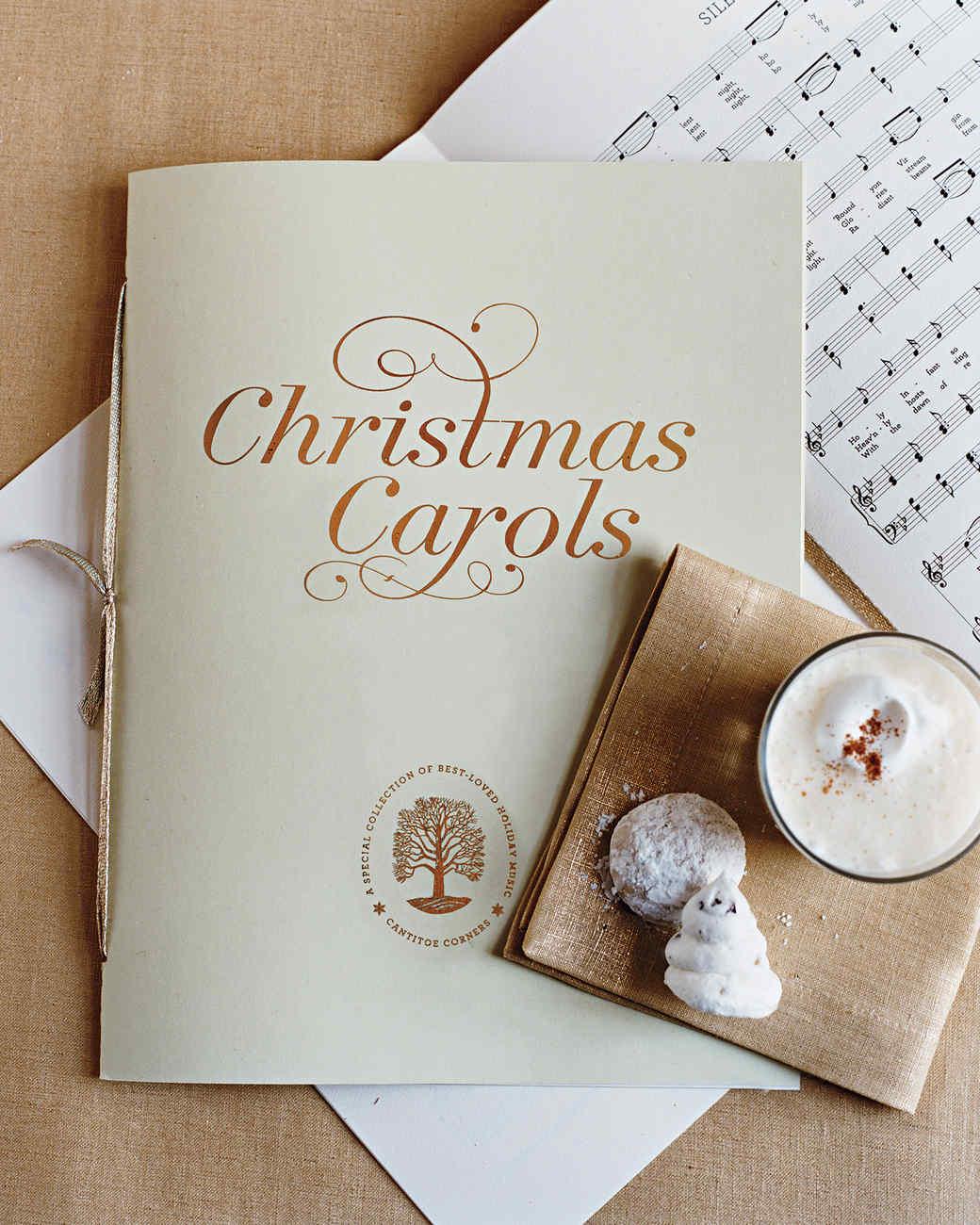 photograph relating to Christmas Carol Songbook Printable known as Marthas Xmas Songbook Martha Stewart